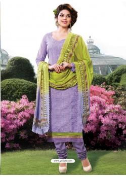 Purple Cotton Churidar Suit