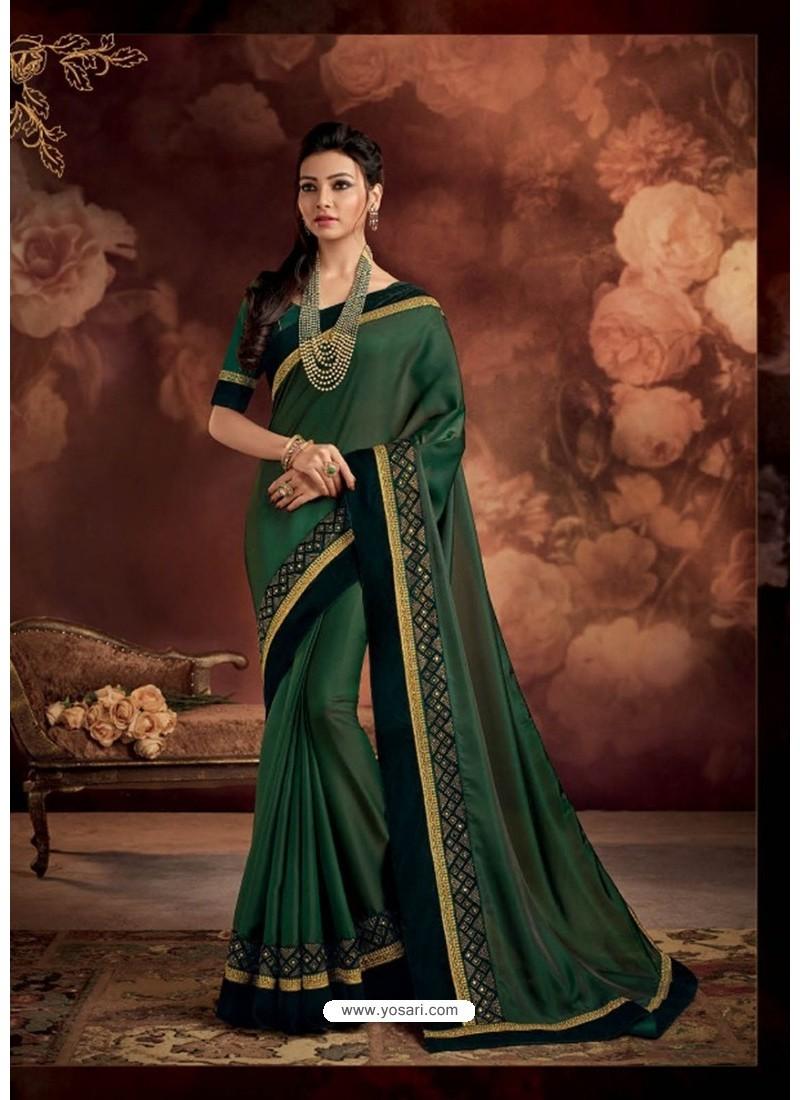 Dark Green Border Work Silk Saree