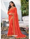 Orange Lace Work Georgette Casual Saree