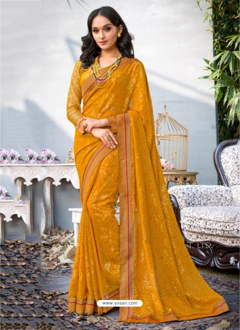 Yellow Lace Work Georgette Casual Saree