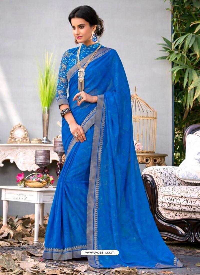 Blue Lace Work Georgette Casual Saree