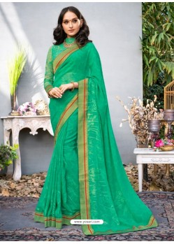 Green Lace Work Georgette Casual Saree