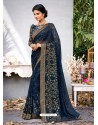 Navy Blue Lace Work Georgette Casual Saree
