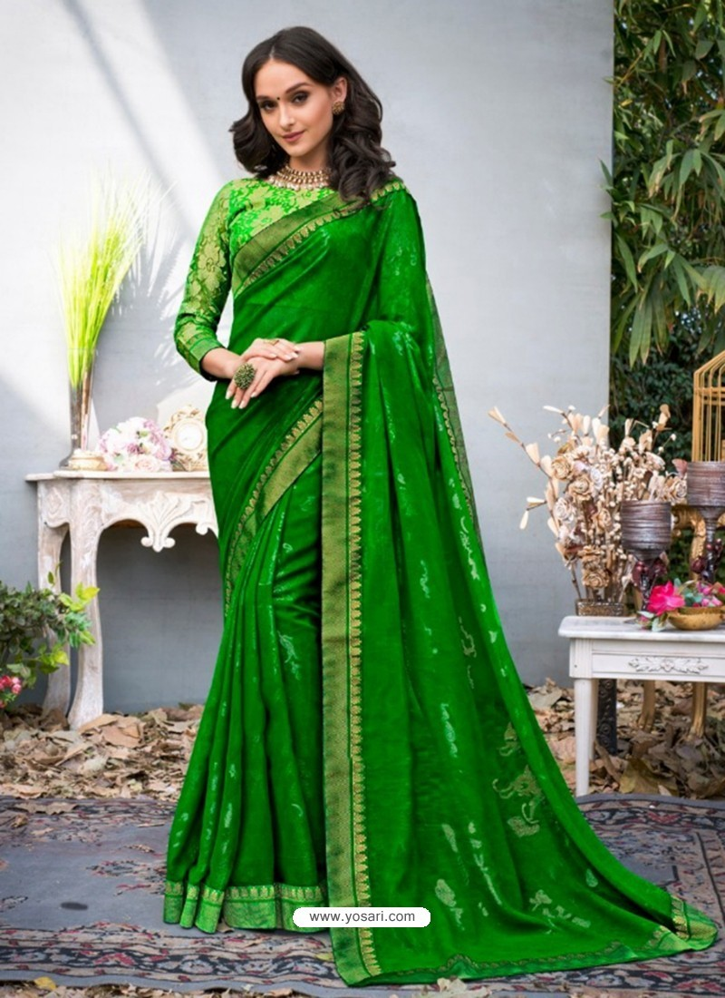 Glorious Green Lace Work Georgette Casual Saree