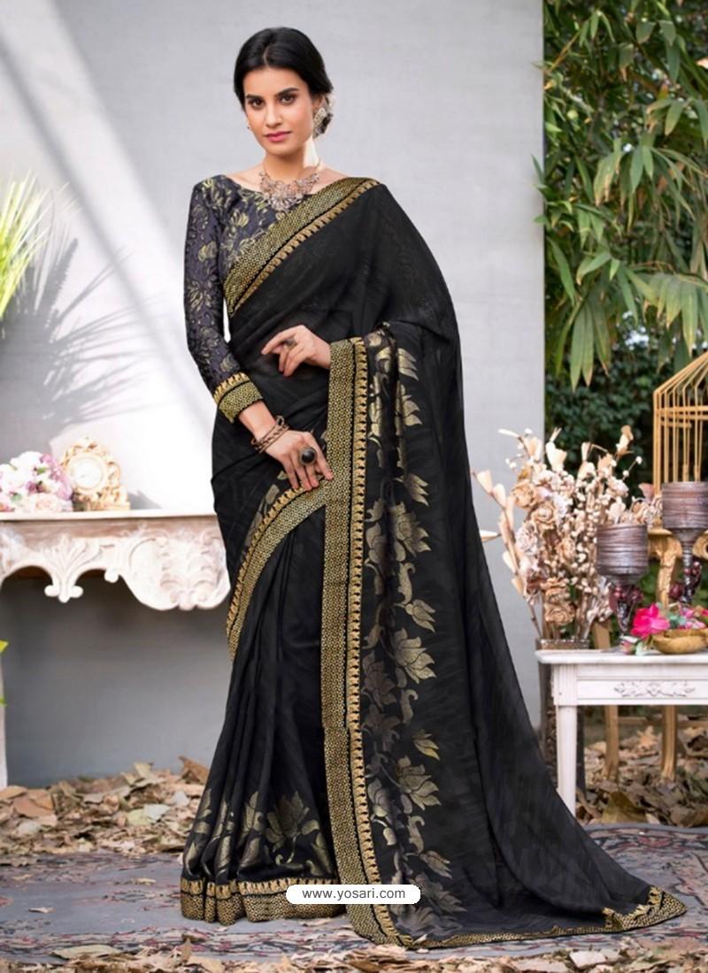 Black Lace Work Georgette Casual Saree