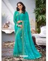 Sky Blue Lace Work Georgette Casual Saree