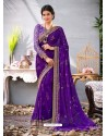 Violet Lace Work Georgette Casual Saree