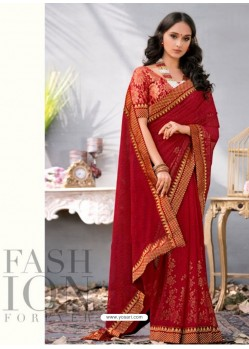Red Lace Work Georgette Casual Saree