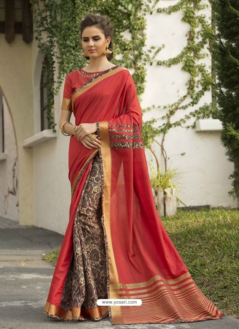 Red Art Silk Printed Party Wear Saree