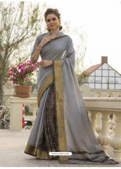 Grey Art Silk Printed Party Wear Saree