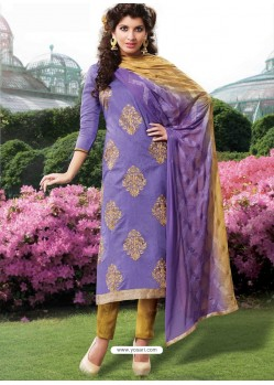 Purple Cotton Churidar Suit