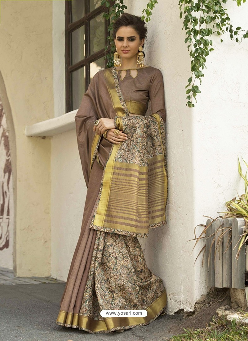 Camel Art Silk Printed Party Wear Saree