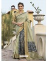 Olive Green Art Silk Printed Party Wear Saree