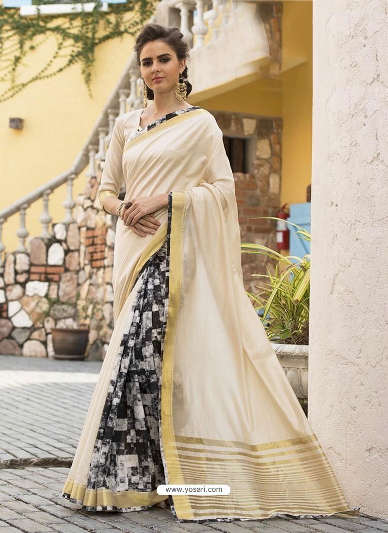 Cream Art Silk Printed Party Wear Saree