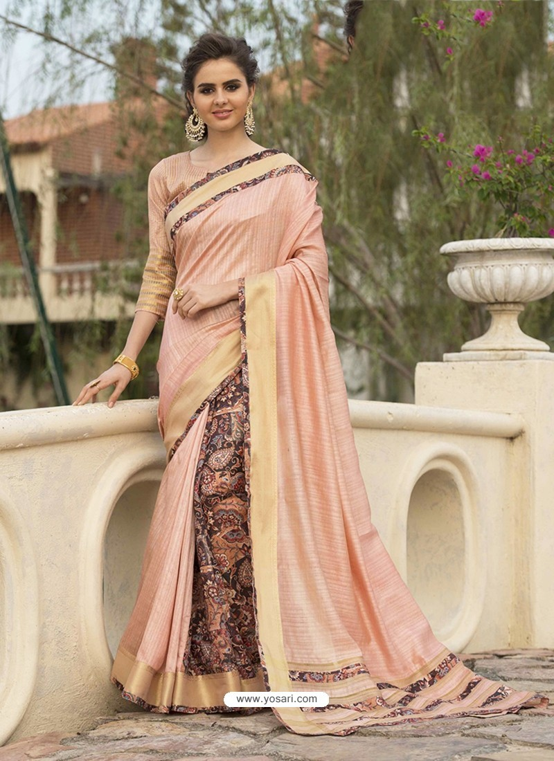 Peach Art Silk Printed Party Wear Saree