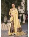 Yellow Art Silk Printed Party Wear Saree