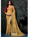 Yellow Chiffon Printed Saree