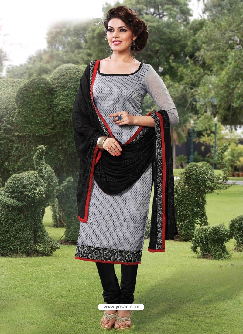 Black Cotton Churidar Suit