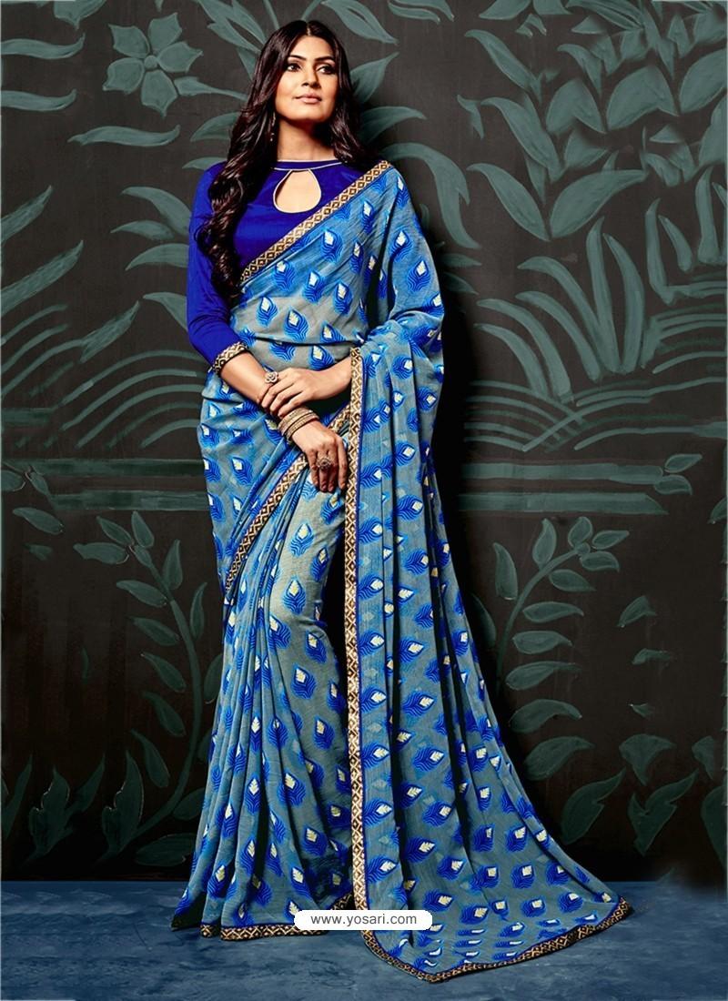 Royal Blue Casual Chiffon Saree