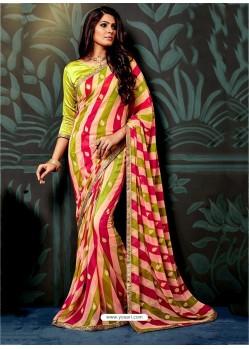 Multi Colour Chiffon Printed Saree