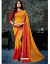 Orange Chiffon Printed Saree