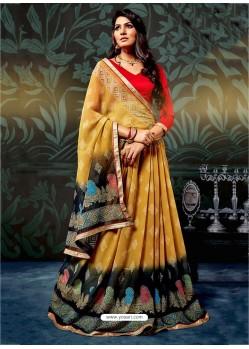 Yellow Casual Chiffon Saree