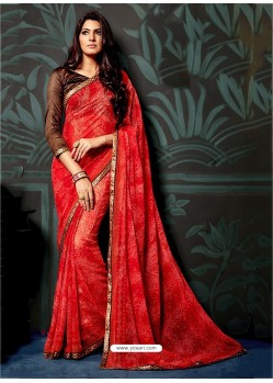 Red Casual Chiffon Saree