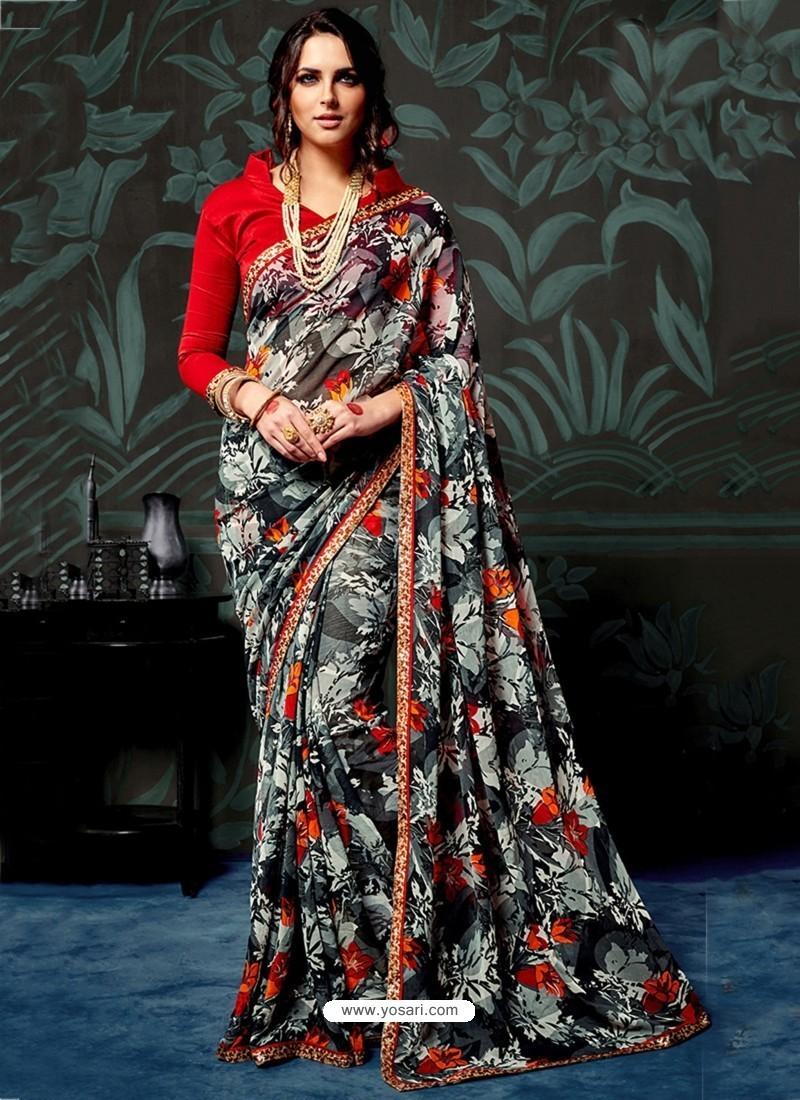 Black Chiffon Printed Saree