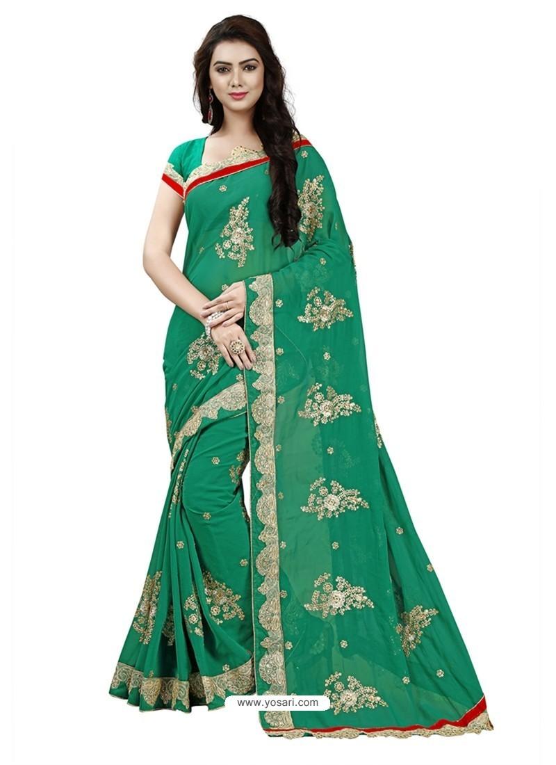 Affectionate Dark Green Georgette Embroidered Saree