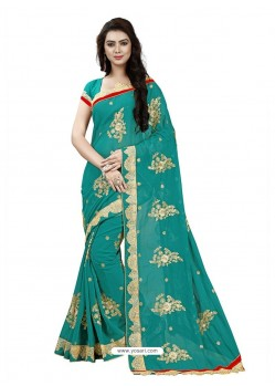 Magical Teal Georgette Embroidered Saree