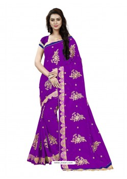 Awesome Purple Georgette Embroidered Saree