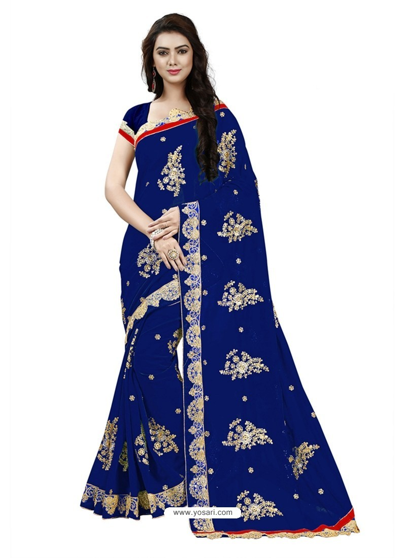 Lustrous Navy Blue Georgette Embroidered Saree