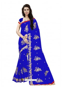 Flawless Royal Blue Georgette Embroidered Saree