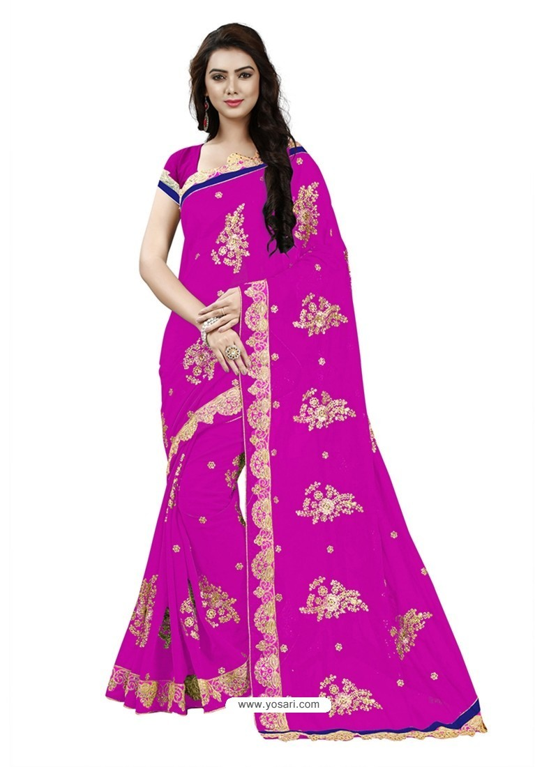 Marvelous Pink Georgette Embroidered Saree