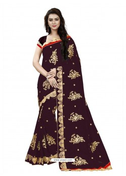 Gorgeous Deep Scarlet Georgette Embroidered Saree