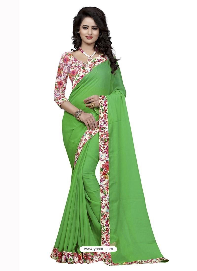 Modern Parrot Green Jacquard Lace Work Saree