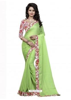 Glowing Sea Green Jacquard Lace Work Saree