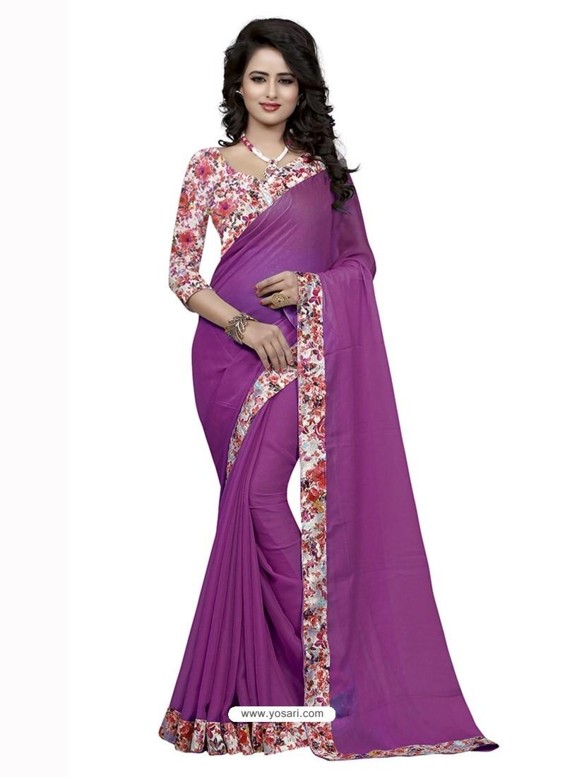 Luxurious Lavender Jacquard Lace Work Saree