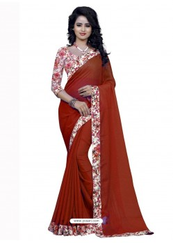Magnetic Red Jacquard Lace Work Saree