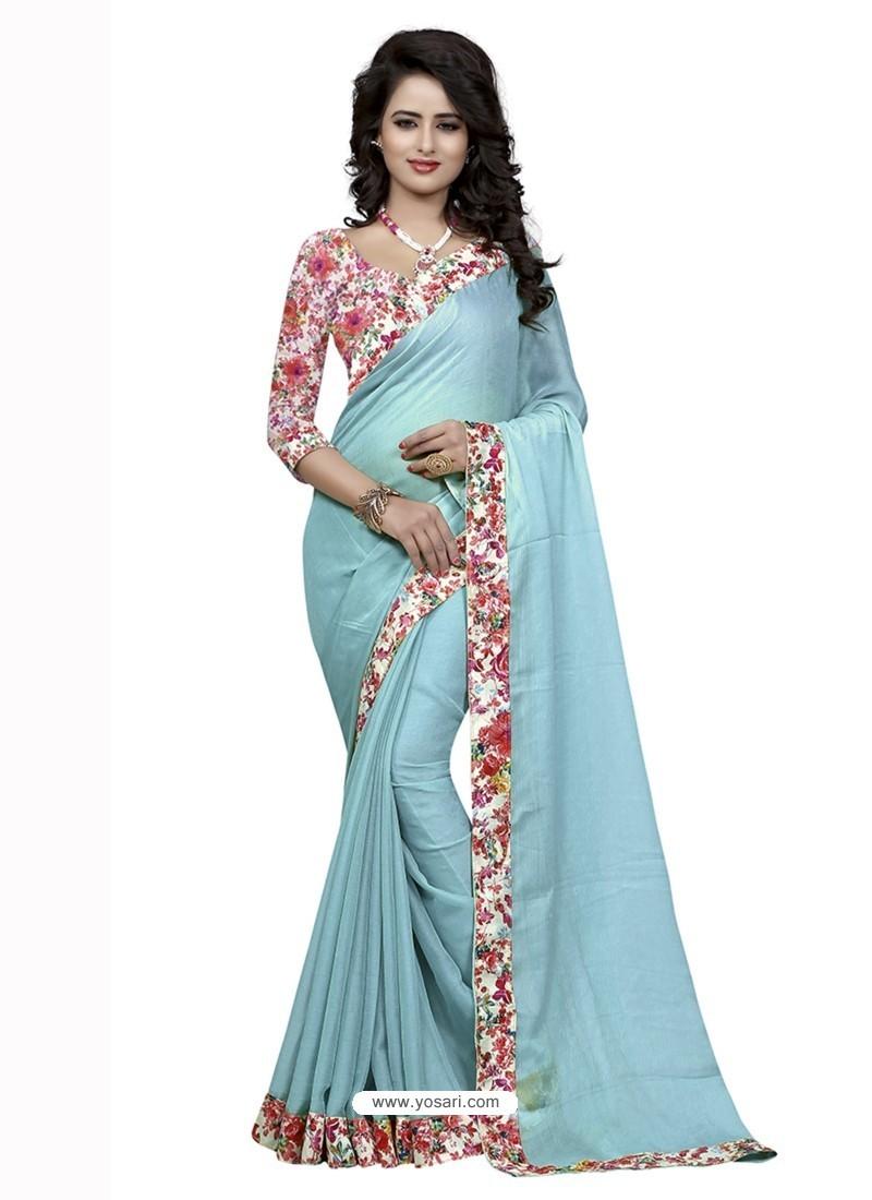 Delightful Sky Blue Jacquard Lace Work Saree