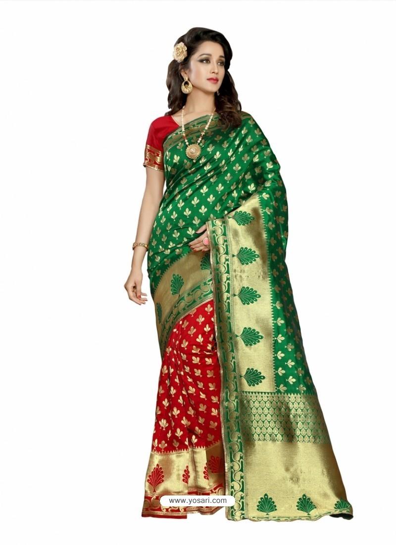 0bc72bec3d373d Buy Beauteous Dark Green Silk Saree | Casual Sarees