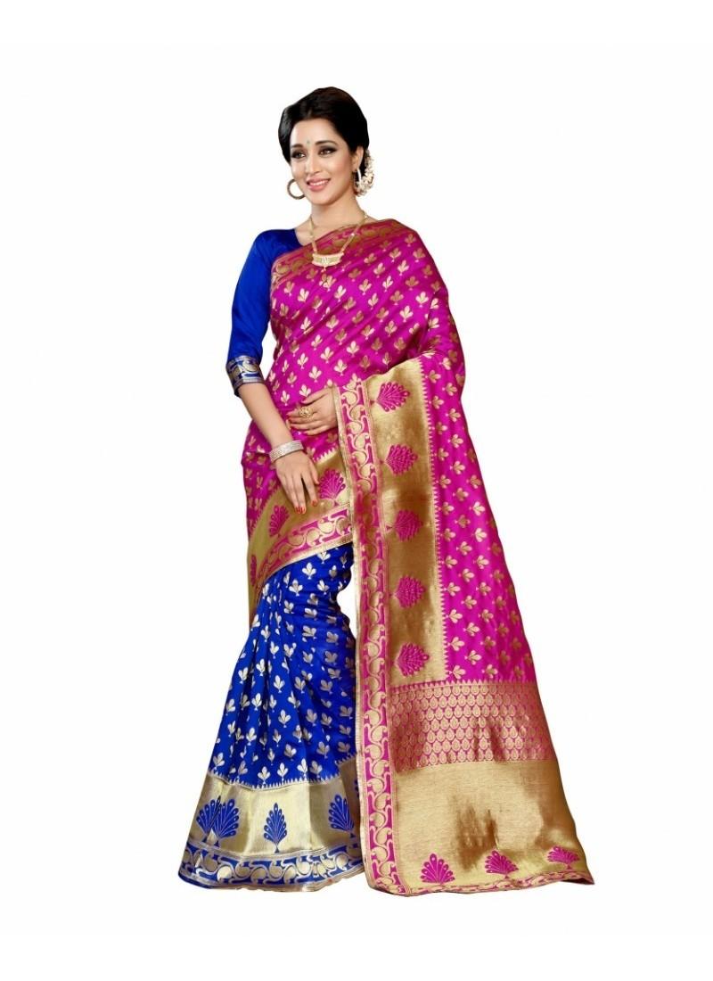 Fascinating Pink Silk Saree