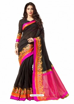 Black Silk Border Work Casual Saree