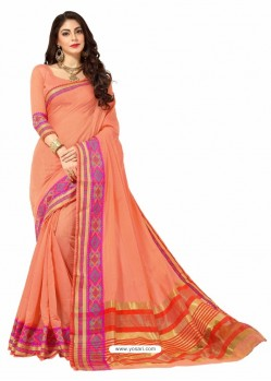 Peach Silk Border Work Casual Saree