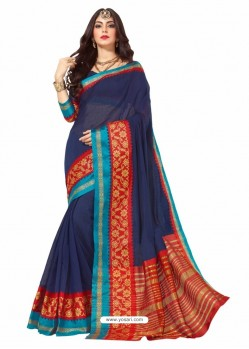 Navy Blue Silk Border Work Casual Saree