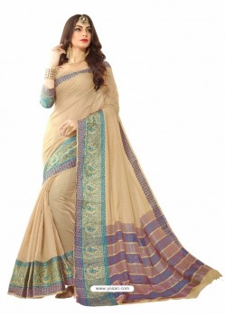 Beige Silk Border Work Casual Saree