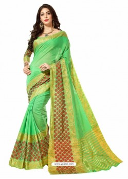 Parrot Green Silk Border Work Casual Saree