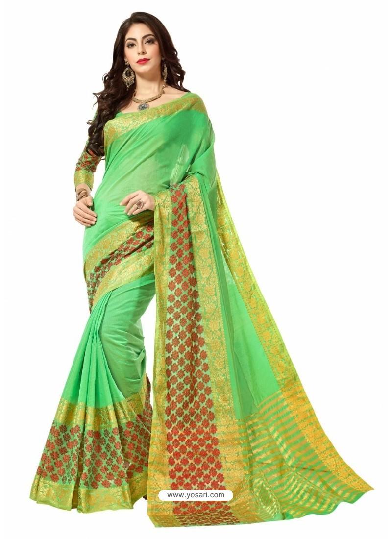 Parrot Green Silk Border Work Casual Saree
