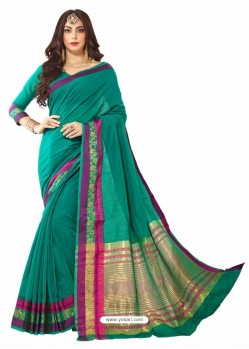 Teal Silk Border Work Casual Saree
