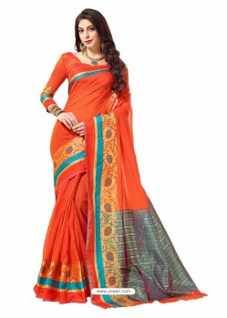 Orange Silk Border Work Casual Saree